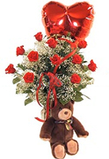 Perfect RED Roses, Teddy bear ans a Mylar balloon in a clear base, greens and white fillers special Roses Arrangement for Valentine and Romance for an exigent lady... We have a complete Online Flowers Selection for Anniversary, Birthday, Romance, Get well soon, New born, Funeral, Sympathy, Thanksgiving, Christmas, Mother's day, Father's day, Secretary, Boss, Easter, Spring and our fantastic Miami Tropical and Exotic flowers arrangements